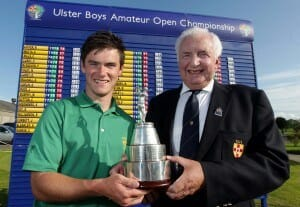 ©Press Eye Ltd Northern Ireland - 2nd August 2012 - Mandatory Credit - Picture by Matt Mackey/presseye.com Peter Sinclair Chairman of the Ulster branch and Timothy Jordan (Dungannon) winner of the Ulster Boys Amateur Open Championship at Balmoral Golf Club, Belfast.